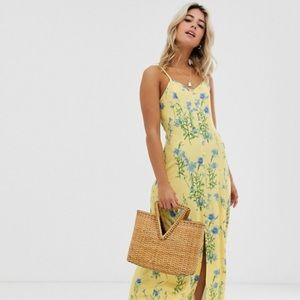Yellow and blue floral maxi dress
